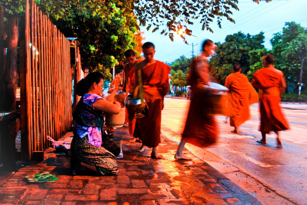 Monks in the morning at Luang Prabang