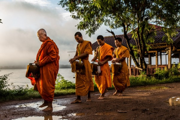 Monks at Don Khong, Laos
