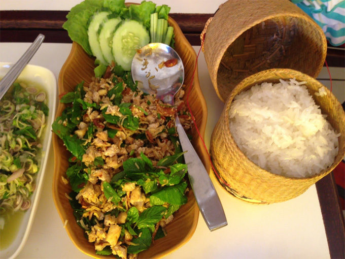 Laos stickey rice and chicken Lap - Laos Popular Food