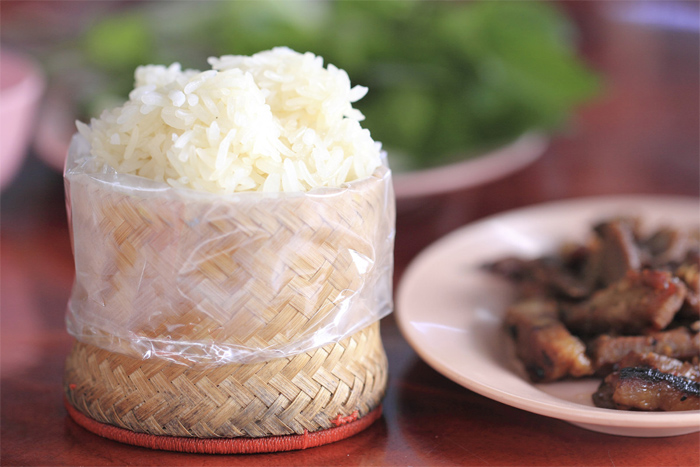 White steamed sticky rice - the foundation of all Lao meals