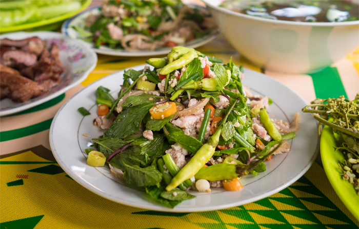Larb is a type of Lao meat salad that is regarded as the popular dish of Lao
