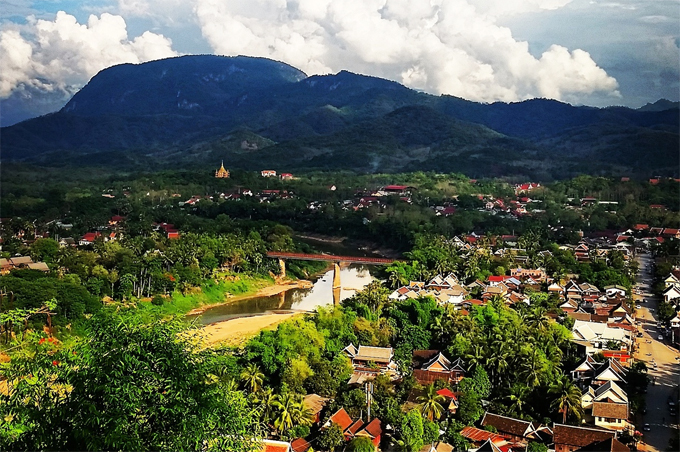 View from Mount Phu Si over Luang Prabang City Laos
