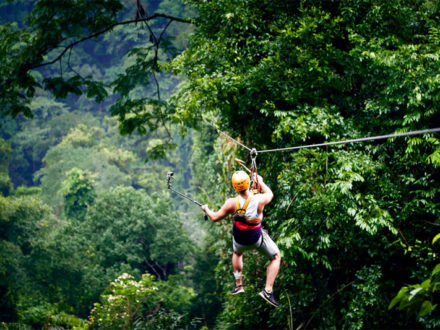 Zipline flying above the jungle in Laos